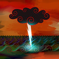 Storm at sea vector illustration Royalty Free Stock Photo
