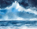 Storm seascape watercolor painted Royalty Free Stock Photo