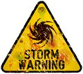 Storm warning sign heavy weathered vector eps Stock Image