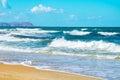 Storm waves on the coast cretan sea horizontal Royalty Free Stock Photography