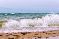 Storm and waves on the lake Baikal Royalty Free Stock Photo