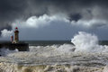 Storm west atlantic stormy waves at the entrance of an harbor Stock Image