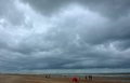 Stormclouds at the belgian northsea Royalty Free Stock Photo