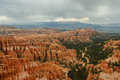 Storms over bryce canyon hoodoos dark clouds gathering the famous in national park Royalty Free Stock Photo