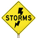 Storms yellow warning sign lightning dangerous forecast the word on a and a bolt of icon to illustrate thunderstorms Stock Photography