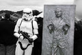Stormtrooper and han solo starwars frozen in carbonite on display at the kent sci fi event picture is good for shows fans Royalty Free Stock Photography