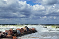 Stormy baltic sea beautiful storm in sunny summer s day Royalty Free Stock Photos