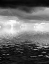 Stormy clouds over water sky filled with dark black with effect Royalty Free Stock Photography