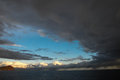 Stormy dark clouds over the atlantic ocean water Stock Images