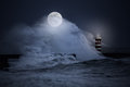 Stormy full moon night at sea Royalty Free Stock Photo
