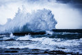 Stormy ocean waves beautiful seascape big powerful tide in action storm weather in a deep blue sea forces of nature natural Royalty Free Stock Photo