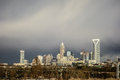Stormy rain clouds over charlotte north carolina skyline Royalty Free Stock Photo