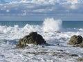 Stormy sea along Tuscany coastline in Livorno, Italy Royalty Free Stock Photo