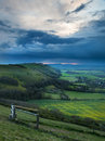 Stormy sky over bright countryside landscape Royalty Free Stock Photography