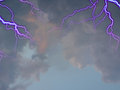 Stormy sky with sunlight bolts of lightning Royalty Free Stock Images