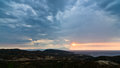 Stormy sky, sunrise at sea and landscape around holy mountain Athos Royalty Free Stock Photo