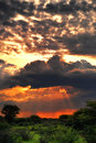 Stormy sunset, Africa Royalty Free Stock Photo