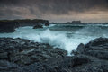 Stormy tide during sunset in westman island iceland Stock Photography