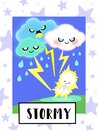 Stormy Weather flashcard collection for preschool kid learning English vocabulary Royalty Free Stock Photo