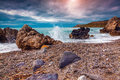 Stormy weather on the volcanic beach in nature reserve Piscina d Royalty Free Stock Photo