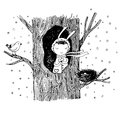 The story about a bunny, tree, hollow, nest, bird and heart.