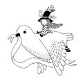 The story of the dove, fairy girl, rabbit and a hat.
