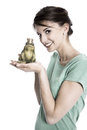 Story of frog king: Young isolated woman. Concept for singles, w Royalty Free Stock Photo