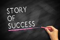 Story of success hand with chalk writing on blackboard Stock Photography