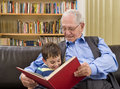 Story time with grandpa Stock Image
