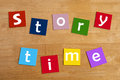 Story time words for school children in lower case letters education learning Royalty Free Stock Photos