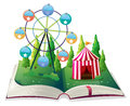 A storybook with a carnival illustration of on white background Royalty Free Stock Photography