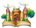 A storybook with a castle and a witch illustration of on white background Stock Photography