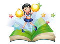 A storybook with a cheerdancer dancing illustration of on white background Royalty Free Stock Images