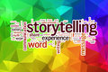 Storytelling concept word cloud on a low poly background with polygons Royalty Free Stock Image