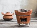 Stoves and clay pots pot for cooking stove cooking Royalty Free Stock Photo