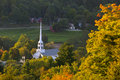 Stowe community church in the early fall vermont usa Royalty Free Stock Image