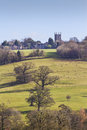 Stowe on the wold view across fields to cotswolds gloucestershire uk Royalty Free Stock Image