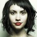 Strängt kvinnabarn för härlig frisyr Fotografering för Bildbyråer