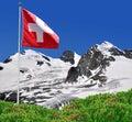 Strahlhorn,Rimpfisc hhorn and Allalinhorn with Swiss flag Stock Photography