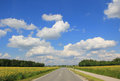 Straight countryroad through farmland Royalty Free Stock Images
