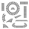 Straight and curved railroad tracks vector black icons Royalty Free Stock Photo