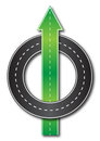 Straight forward illustration of a road leading and another going in circles Royalty Free Stock Photography