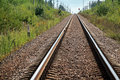 Straight modern railway perspective with gravel poles green grass and trees Stock Photography