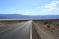 Straight road through the desert california usa asphalt Stock Photography