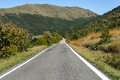 Straight road in the hills of genoa in liguria Royalty Free Stock Photography