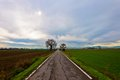 Straight road italian po valley running cultivated fields winter Royalty Free Stock Image