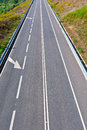 Straight road stretch of the asphalt in portugal Stock Photos