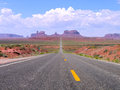 Straight road in utah and arizona monument valley navajo tribal park united states of america Royalty Free Stock Images