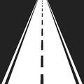 Straight road with white markings vector illustration. Highway r