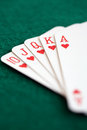 Straight royal flush playing cards Stock Photography